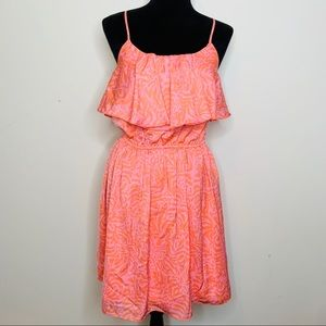 Lilly Pulitzer Pink Orange Ruffle Tank Dress S